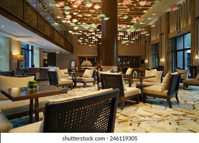 Modern Lobby. Hotel Lobby Interior With Reception Desk ...