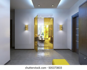 Modern lobby hallway in the contemporary style. Brown furniture, glass interior doors are yellow. 3D render.