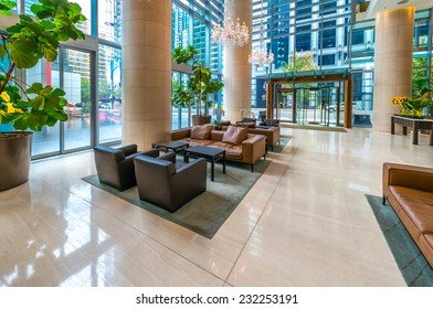 Modern lobby, hallway, plaza of the luxury hotel, shopping mall, business center in Vancouver, Canada. Interior design.