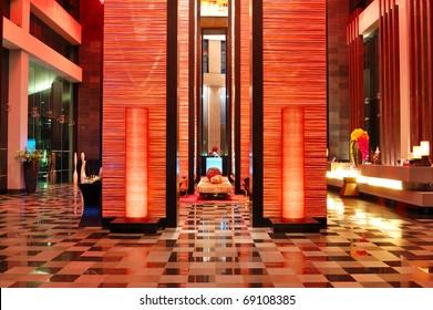Modern lobby interior in night illumination, Pattaya, Thailand