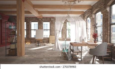 Modern loft bedroom (3 d render using 3 d s Max)