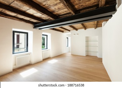modern loft, empty room with many windows