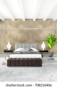 Modern loft interior bedroom or living room with eclectic wall with space. 3D rendering.