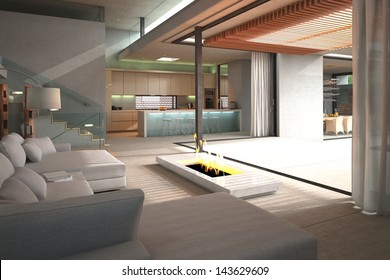 Modern Loft Interior with white couch and fireplace