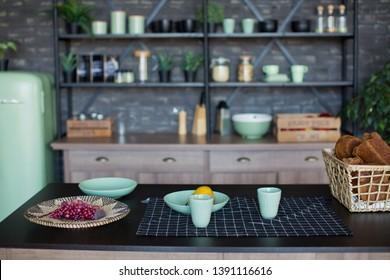 modern loft kitchen with mint details