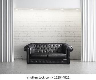 modern loft with leather sofa