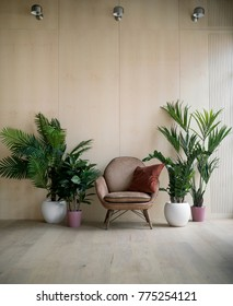 Modern loft living room with plywood wall, wooden floor, retro brown leather armchair with pillow and green tropical fern plants in pots. Mock up interior photo simple urban jungle style