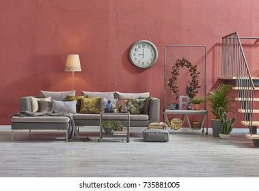 modern loft living room stairs behind red raw wall panoramic banner