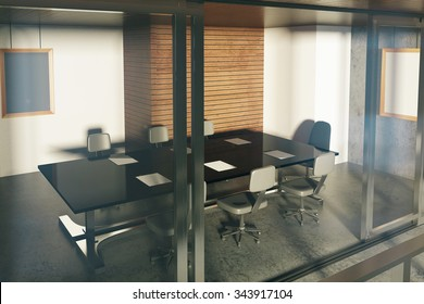 Modern loft style conference room with furniture at sunset 3D Render