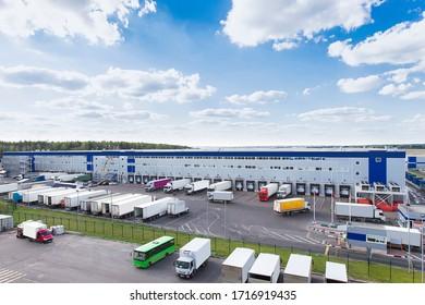 modern logistics center with different cargo truck