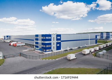 modern logistics center with different cargo truck