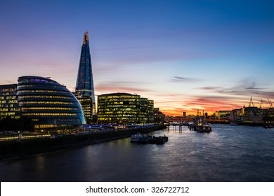 Modern London cityscape during sunset