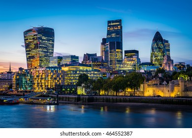 Modern London cityscape in night