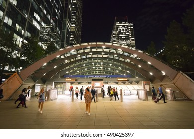 Modern London Underground Station Canary Wharf by night - LONDON / ENGLAND - SEPTEMBER 14, 2016