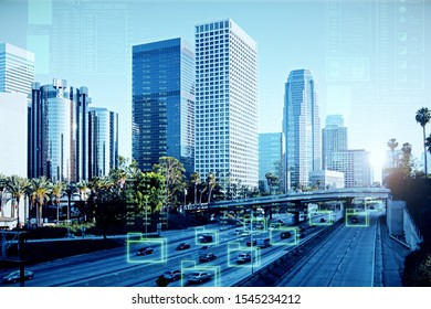 Modern Los Angeles background with digital hologram. Future and innovation concept. Multiexposure