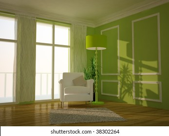 Modern lounge room painted green