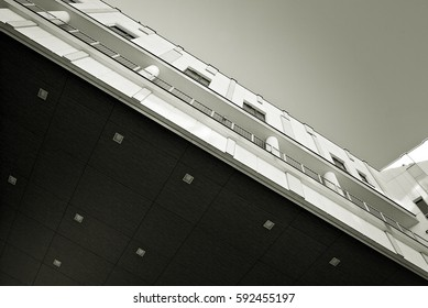 Modern, Luxury Apartment Building. Black and white.