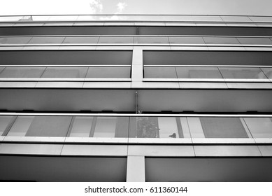 Modern, Luxury Apartment Building. Black and white