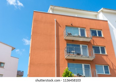 Modern Luxury Apartment Building Blue Sky Facade Home Residential Structure