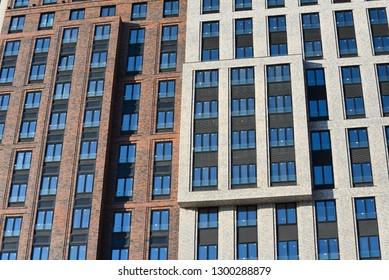 Modern luxury apartment building facade. Modern skyscraper.