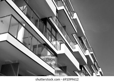 Modern, Luxury Apartment Building.Black and white.