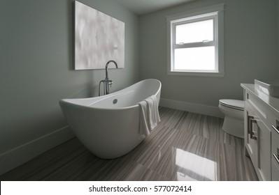 Modern luxury bathroom with bathtub. Vertical. Interior design.