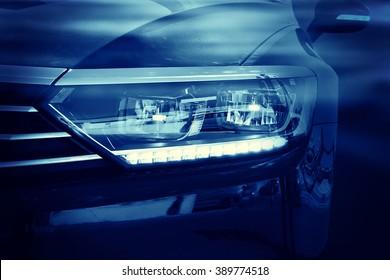 Modern luxury car close-up background