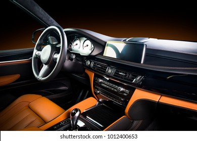 Modern Luxury Car Interior   Steering Wheel, Shift Lever And Dashboard. Car  Interior Luxury