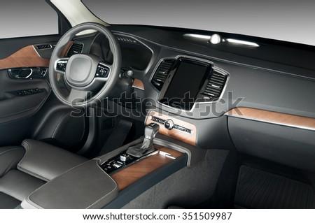 Modern Luxury Car Interior Wood Panels Stock Photo Edit Now