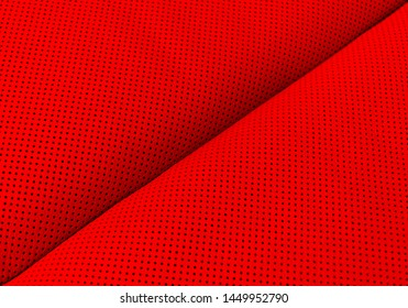 Modern luxury Car red leather interior.  Part of perforated leather car seat details. Red Perforated leather texture background. Texture, artificial leather with stitching.