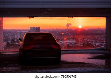 Modern luxury car and sunset sky in background. Successful, business people. Motivation photo. Luxury, rich, happy life.