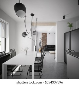 Modern and luxury dining room with view on the living room - 3 d render