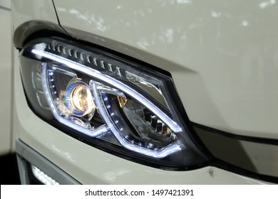 Modern & luxury front bus headlight or headlamp led close up