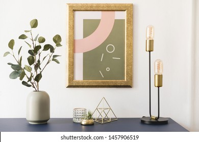 Modern and luxury interior of living room with pomegranate shelf, gold table lamp, mock up poster frame, flowers in vase and elegant accessories. Stylish home decor. Template. White walls.