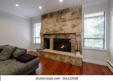 Modern luxury living room with fireplace. Interior design.
