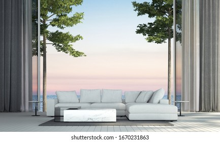 Modern luxury living room interior design and sea view and texture wall background