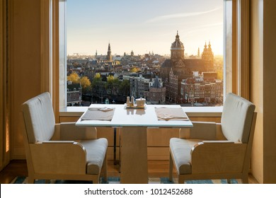 Modern luxury restaurant interior with romantic sence Amsterdam old town view in Amsterdam, Netherlands.