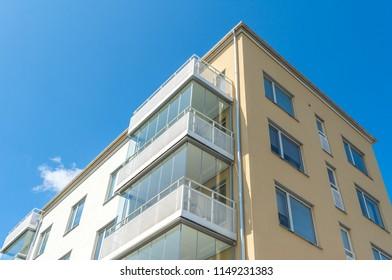 Modern Luxury Scandinavia Apartment Building Blue Sky Facade Home Residential Structure