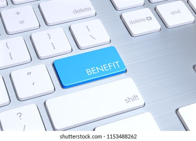 """modern mac style keyboard, enter button is blue and written """"benefit"""" on it. Just one click is enough for benefit"""
