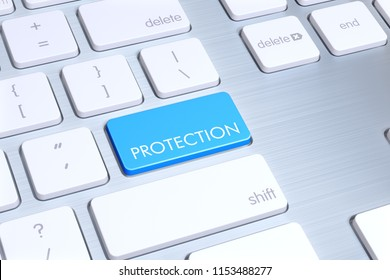 """modern mac style keyboard, enter button is blue and written """"benefit"""" on it. Just one click is enough for protection"""
