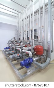 Modern machinery in a pharmaceutical production plant
