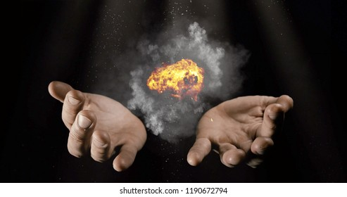 Modern magician conjuring smoke from his hands, Magic Trick Concept