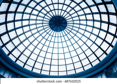 modern mall atrium round ceiling,low angle.