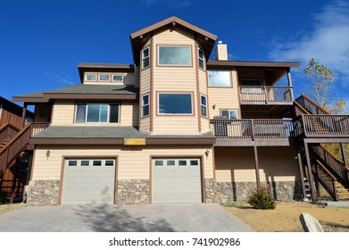 Modern mansion on the slope of the Big Bear Lake. California.