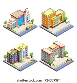 Modern many-storeyed school buildings with cars bicycles and school bus isometric icons set on white background isolated  illustration