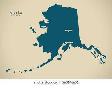 Modern Map - Alaska USA federal state illustration silhouette