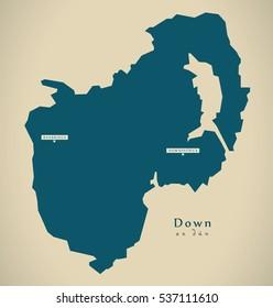 Modern Map - Down UK Northern Ireland illustration