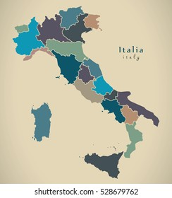 Modern Map - Italy with regions IT