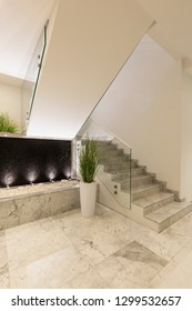 Modern marble staircase of luxury condominium. Nobody inside