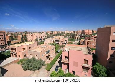 Modern Marrakech, overlooking new buildings, Morocco, Africa